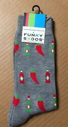Funky Socks Hot Sauce Chili Pepper Novelty Size 6 12 Men's Crew New Tags AR193 $5.95