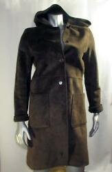 Kenneth Cole Reaction Brown Suede Leather Long Sleeve Hood Fleece Lined Coat