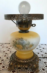 Vintage Antique Student Lamp Yellow Hand Painted 3 Way Light Romantic Shabby $27.87