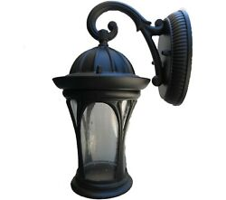 1 Light Black Outdoor Wall Mount Porch Exterior Light w Seeded Glass Sconce