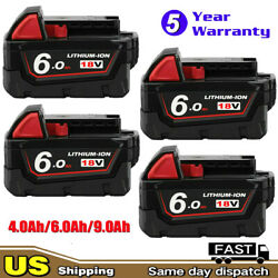 4) For Milwaukee M18 Lithium XC 6.0 Ah Extended Capacity Battery Pack 48-11-1852 $22.99