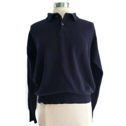 POLO RALPH LAUREN Sweater XLarge Navy Blue Mens 100% Cashmere Collared Pullover