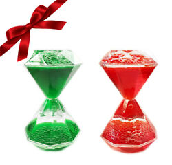 2pk Christmas Red Green Water Timers Sensory Toy Set Liquid Hourglass Bubbler $12.99