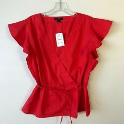J.Crew Poplin Flutter Sleeve VNeck Wrap Top Red NWT Large L