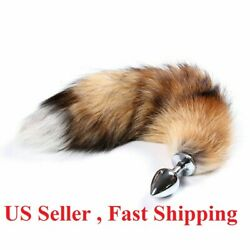 Small anal-butt stainless steel  plug artificial fox tail role playing cosplay $7.99