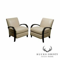 Mc Creary Modern Room amp; Board Art Deco Style Pair Leather Lounge Chairs $1495.00