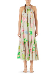 NEW $650 Tibi Linnea Floral Poplin Halter Midi Dress L