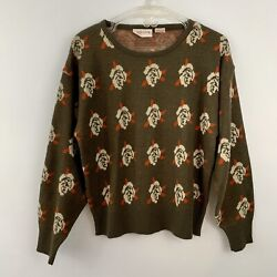 Vintage 1980s Cos Cob Womens Large Novelty Rose Brown Pullover Sweater $24.80