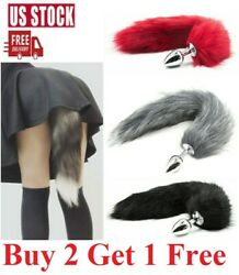 False Fox Tail With Metal Anal-Butt Plug Cosplay Romance Game Funny Toy Games $6.95