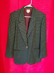 Koret womens Jacket/ Blazer Sz12 Blk/Green Houndstooth Casual Or Professional  $35.00