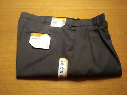 Men's Savane Waist Size 42 X 29 Inseam Charcoal Gray Washable Dress Pants New!!