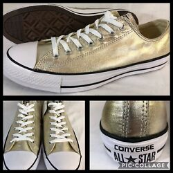 NEW CONVERSE CHUCK TAYLOR AS LIGHT GOLD METALLIC SHOES UNISEX MENS 12 WOMENS 14 $37.14