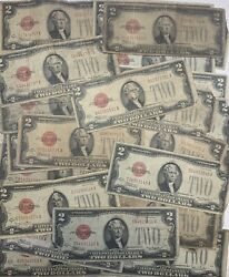 1928 Circulated RARE Two Dollar Bill $2 Note Fancy Red Seal Old Paper Money Lot $12.37