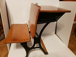 Antique Child's School Desk  Wood & Black Cast Iron with ink well bottle  $119.99