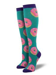 Socksmith Women#x27;s Socks Novelty KNEE HIGH Socks quot;Donutsquot; Lagoon $12.79