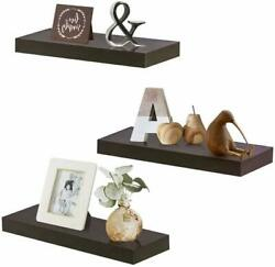 Zgzd Floating Shelves For Wall Easy To Install Set Of 3 5.9quot; Deep Espresso B $67.99