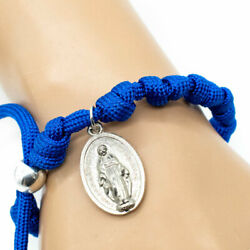 Blue Paracord Rosary Bracelet Adjustable With Miraculous Medal Dangle $9.99