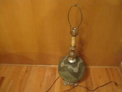 Vintage Table Lamp Green Retro Glass Mid Century Hollywood Regency MCM RARE $149.99