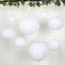 8 WHITE Assorted Sizes Hanging Paper Lanterns Party Wedding Events Decorations $8.81