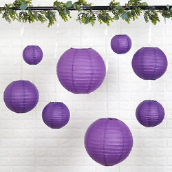 8 PURPLE Assorted Sizes Hanging Paper Lanterns Party Wedding Events Decorations $8.81