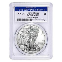 2020 (W) 1 oz Silver American Eagle $1 Coin PCGS MS 70 First Strike (West Point) $47.16