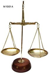 Antique Brass Polished Balance Scale with Wooden Base Apothecary Jewelry NEW $14.98