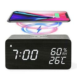 Wooden Digital Alarm Clock with Wireless Charging 3 Alarms LED Display  $40.54