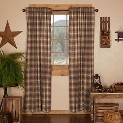 Dawson Star Rustic Living Bed Room Curtains Set Drapes Brown Plaid 84 x 40 in $59.95