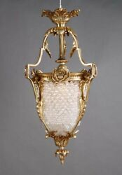 Small Ceiling Chandelier in style Des Louis Seize Brass with Crystal Stones