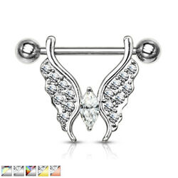 PAIR Crystal Gem Paved Butterfly Dangle Nipple Rings Shields Body Jewelry $9.50