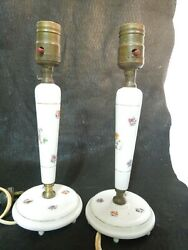 Vintage Porcelain Table Lamps Pair Hand Painted Candlesticks 11quot; Tall Japan Made $45.00
