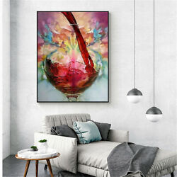 Abstract Red Wine Glass Oil Painting Canvas Print Wall Art Cafe Bar Home Decor $8.89