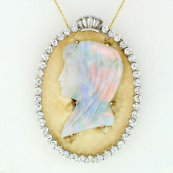 Vintage Large Oval 14k Gold Pendant Necklace w Carved Opal Cameo