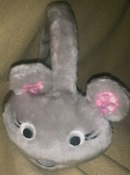 RARE ADORABLE CHILD GIRLS WINTER PLUSH PINK EAR GRAY MOUSE EAR MUFFS NEW NWOT $3.98