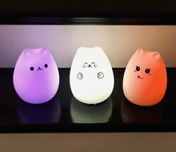 Kids Night light cat soft silicone LED 7 colors USB rechargeable bedside $14.99