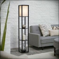 Modern Shelf Floor Light Off White Lamp Shade Storage Bed Living Room Home Black $36.90
