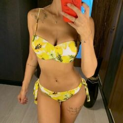 Sexy Bikinis Women Swimwear Push Up Swimsuit Lemon Bikini Yellow balconette $22.58