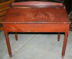 Red Antique Primitive Slant Top Desk Painted Pine Early American $637.50