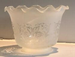 New: Vintage Frosted w Clear Etched flower amp; Fluted Edge glass Shade 4quot; Fitter $24.64