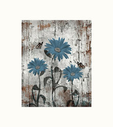 Blue Brown Rustic Bedroom Bathroom Floral Home Decor Photography Artwork Picture $19.99
