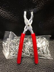 Hog Ring Pliers and Hog Rings 3 4quot; KIT Seat Covers Upholstery Fences Netting $16.99