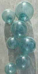 Japanese Blown Glass Floats LOT 7 AQUA Mixed: 4 3 3.5quot;amp; 3 2quot; Ocean Antique $69.97