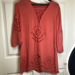 Solitaire Swim Coral Bathing Suit Cover Up Dress Sz S Embroidered Cut Out $15.00