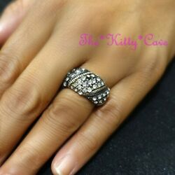 Wavy Retro Ossie Classic Domed Band Crystal Bling Antique Silver Cocktail Ring $14.40