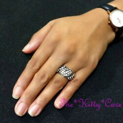 Classic Retro Ossie Wavy Domed Band Crystal Bling Antique Silver Cocktail Ring C $18.34