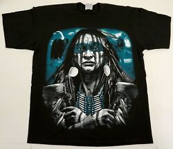 Native American Indian T-shirt Warrior Chief Mens Tee Black 100% Cotton New $18.95