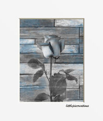 Blue Gray Rose Flower Modern Rustic Bedroom Bathroom Photography Wall Picture $19.99