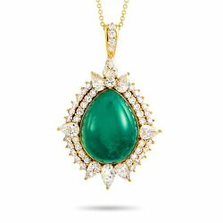 18K Yellow Gold 4.70 ct RoundPear Diamond and Emerald Pendant Necklace