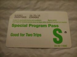 Special Program Pass Green Student Metrocard Expired $3.00