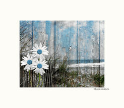 Blue Gray Rustic Wall Art Beach Daisy Flowers Rustic Bedroom Bathroom Artwork $19.99